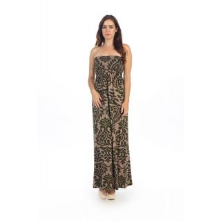 Hadari Women's Olive Print Smocked Strapless Maxi Dress