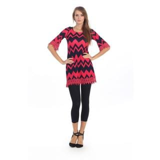 Hadari Women's Coral Zig-zag Crochet Shift Dress
