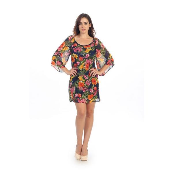 Hadari Women's Navy Floral Print Cut-out Shift Dress