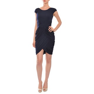 Mikael Aghal Women's Navy Blue Draped and Ruched Evening Dress
