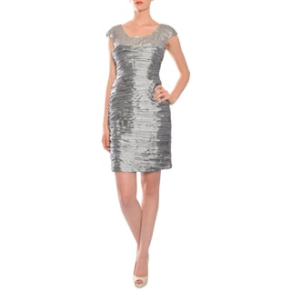 Mikael Aghal Women's Silver Sequined Fitted Cocktail Evening Dress