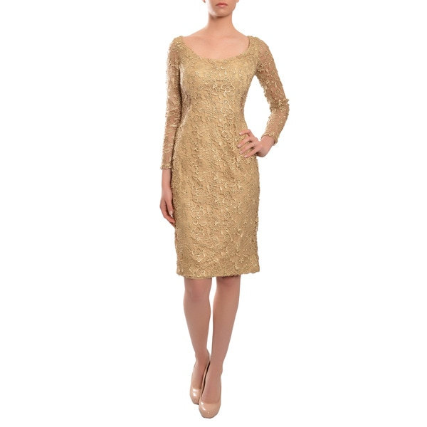 Mac Duggal Women's Gold Floral Lace Fitted Long-sleeve Dress