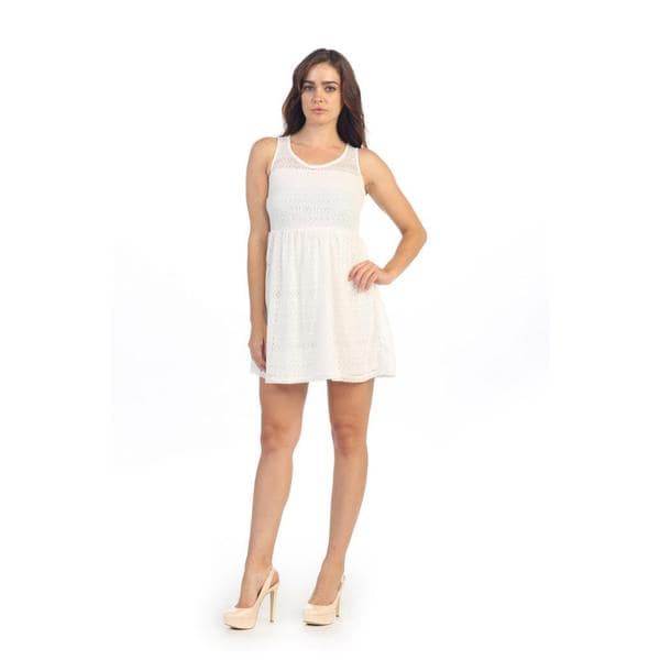 Hadari Women's White Lace Cut-out A-line Dress
