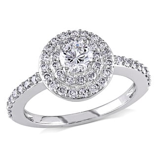 Miadora 14k White Gold 1ct TDW Diamond Halo Ring (H-I, I1-I2)