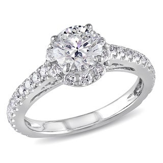 Miadora 14k White Gold 1 1/3ct TDW Diamond Halo Ring (G-H, I1-I2)