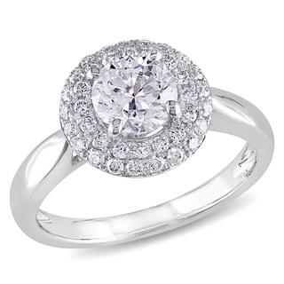 Miadora 14k White Gold 1 1/4ct TDW Diamond Halo Ring (G-H, I1-I2)