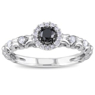 Haylee Jewels Sterling Silver 1/4ct TDW Black and White Diamond Halo Ring (H-I, I2-I3)