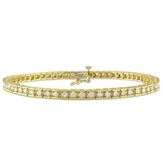 Miadora 10k Yellow Gold 1 5/8 TDW Diamond Tennis Bracelet (G-H, SI1-SI2)
