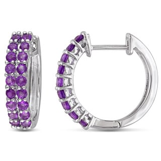 Miadora Sterling Silver 3/4ct TGW Amethyst Hoop Earrings