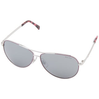 Ralph Lauren Unisex 'RA4109' Berry/ Silver Flash Aviator Sunglasses