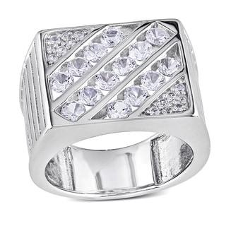 Miadora Sterling Silver Created White Sapphire Men's Ring