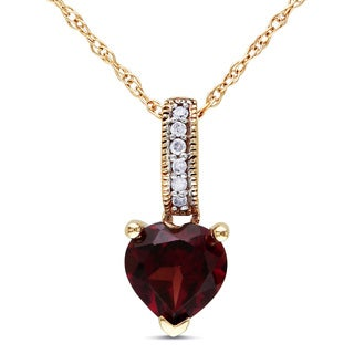 Miadora 10k Yellow Gold Garnet and Diamond Accent Heart Necklace