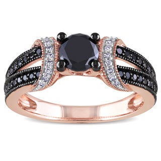 Miadora 10k Rose Gold 1ct TDW Black and White Diamond Ring (H-I, I2-I3)