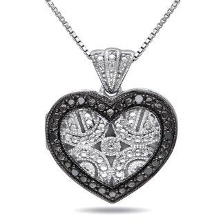 M by Miadora Sterling Silver Black Diamond Accent Heart Necklace