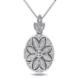Haylee Jewels Sterling Silver Vintage Diamond Locket Necklace (H-I, I2-I3)