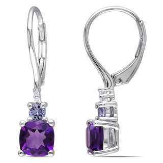 Miadora Sterling Silver Amethyst, Tanzanite and Diamond Earrings