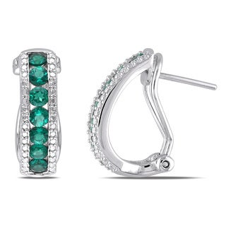 Miadora Sterling Silver Created Emerald Earrings