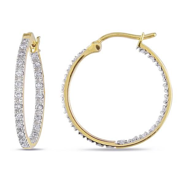 Miadora 10k Yellow Gold 1/4ct TDW Diamond Hoop Earrings (H-I, I2-I3)