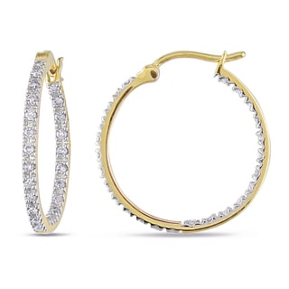 Miadora 10k Yellow Gold 1/4ct TDW Diamond Hoop Earrings (H-I, I2-I3)