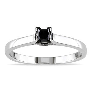 M by Miadora Sterling Silver 1/4ct TDW Black Diamond Solitaire Ring