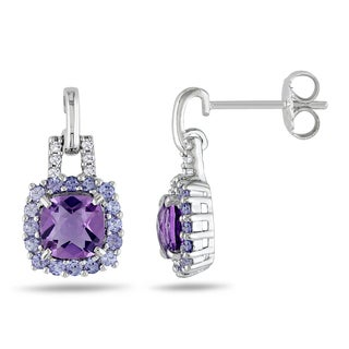 Miadora Sterling Silver Amethyst, Tanzanite and Diamond Accent Earrings