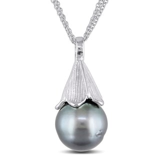 Miadora Sterling Silver Tahitian Pearl Three-strand Necklace (12-13 mm)
