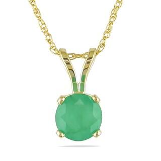 Miadora 14k Yellow Gold 4/5ct TGW Emerald Solitaire Necklace