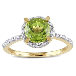Miadora 10k Yellow Gold 1 1/2ct TGW Peridot and Diamond Accent Cocktail Ring
