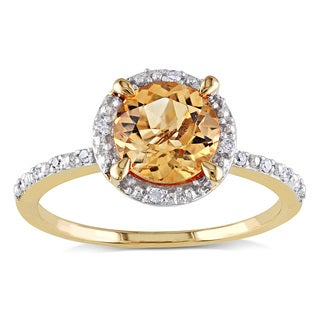 Miadora 10k Yellow Gold 1 1/4ct TGW Citrine and Diamond Accent Cocktail Ring