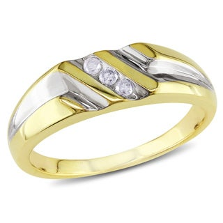Miadora Two-tone Silver 1/10ct TDW Diamond Three Stone Men's Ring (H-I, I2-I3)