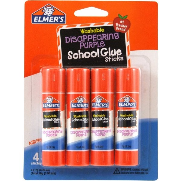 Elmer's Disappearing Purple School 0.24-ounce Glue Sticks (Pack of 4 Sticks)