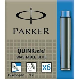 Parker Quink Ink Mini Washable Blue Ink Cartridges (Pack of 6)