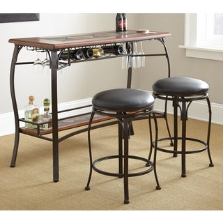 Delmar Slate Bar Set with Two Swivel Stools