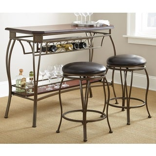 Guilford Wood Bar Set with Two Swivel Stools