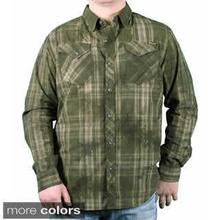 MO7 Men's Garment Dyed Plaid Button-down Shirt