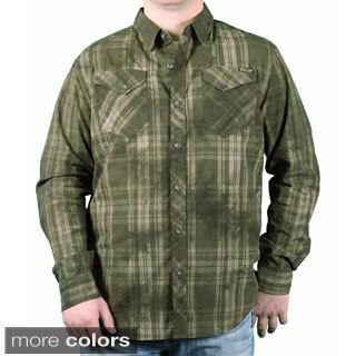 MO7 Men's Garment Dyed Plaid Button-down Shirt