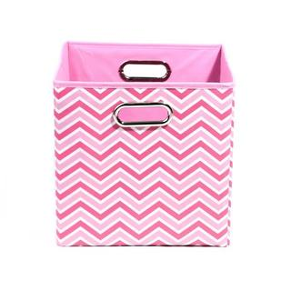 Rose Pink Chevron Folding Storage Bin