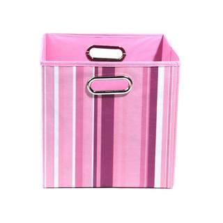Rose Pink Stripes Folding Storage Bin