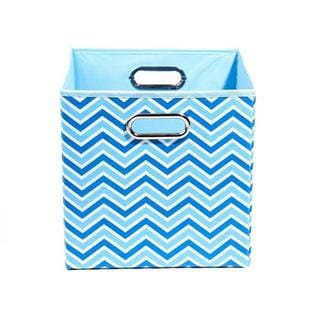 Chevron Folding Storage Bin in Sky Blue