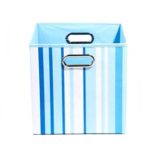 Sky Blue Stripes Folding Storage Bin