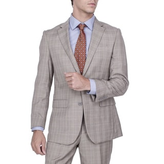 Men's Modern Fit Tan Plaid 2-button Suit