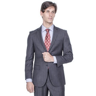 Men's Modern Fit Charcoal Grey Striped 2-button Suit