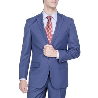 Men's Modern Fit Blue Birds-eye 2-button Suit