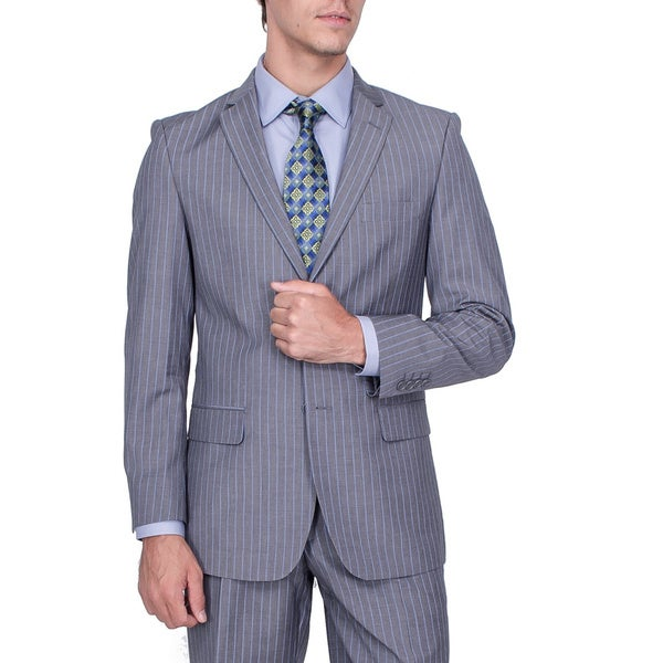 Men's Modern Fit Grey Stripe 2-button Suit