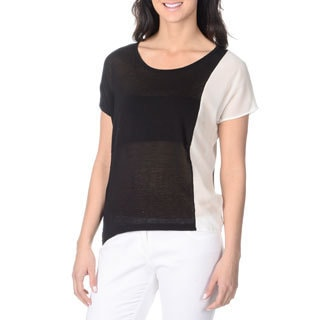 Yal New York Women's Black and White Colorblocked Top
