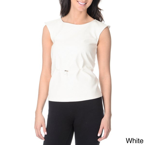 Yal New York Women's Perforated Faux Leather Top
