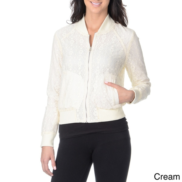 Yal New York Women's Crochet Lace Baseball Jacket