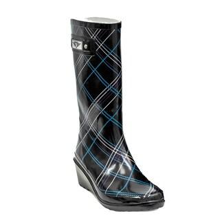 Women's Black Plaid Tall Wedge Rain Boots