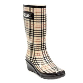 Women's Checkers/ Plaid Print Wedge Rain Boots