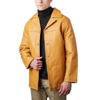 Men's Timber Leather Button-front Half-coat with Zip-out Liner